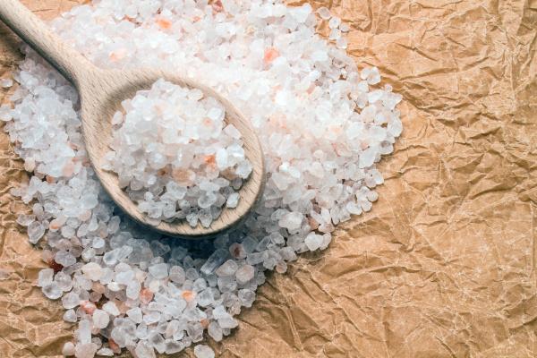 cucchiaio di legno con sale grosso
