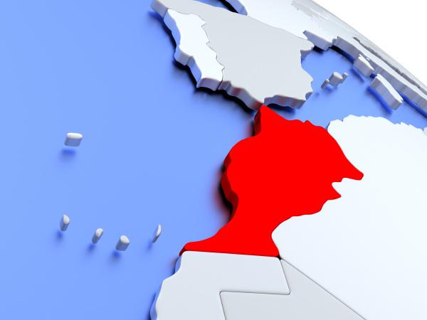 marocco, sulla, mappa, del, mondo - 19129319