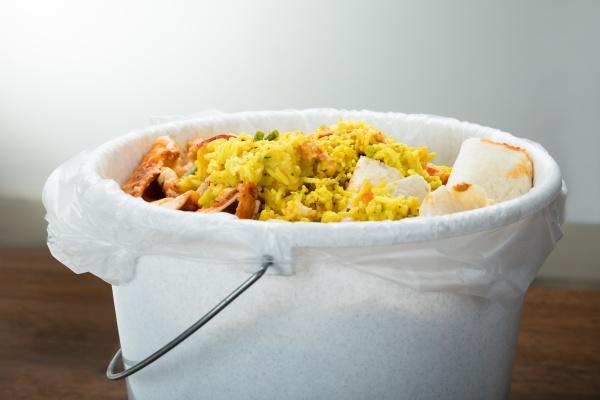 svuotare il cibo nel cestino