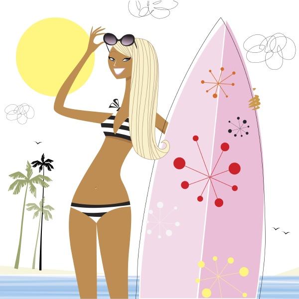 donna che tiene tavola da surf