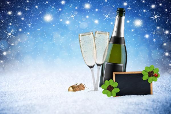 felice nuovo anno verde neve notte
