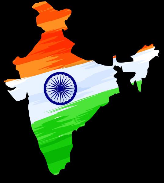 india mappa bandiera territorio sfondo nero