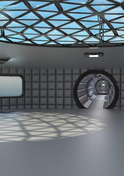 corridoio di fantascienza del rendering 3d