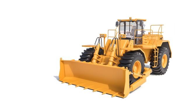 grande bulldozer su sfondo bianco