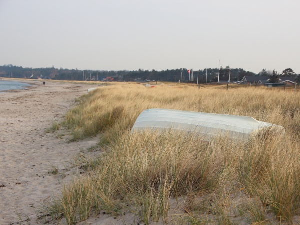 barca, a, remi, bianca, capovolta, dune - 29746576