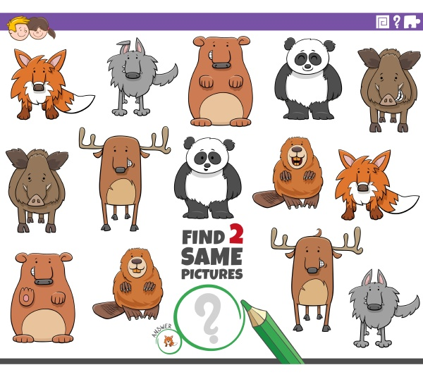 find, two, same, cartoon, animals, educational - 29844916