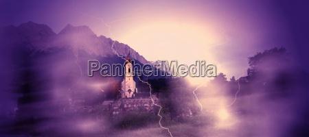 chiesa montagne alpi cimitero paura tempesta