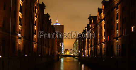 ponte fotografia notturna luci porto amburgo