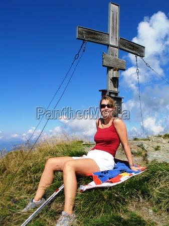donna escursione gita vertice grandangolo picco