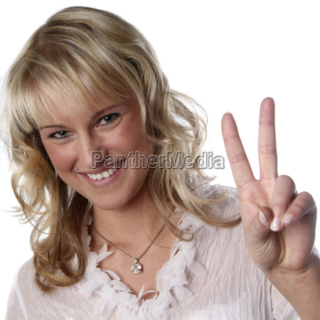 young woman victory sign