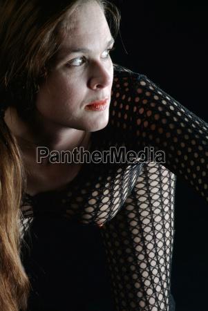 woman in fishnet body