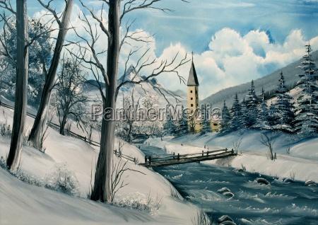 winter landscape painted