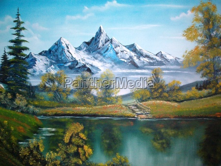 tree trees mountains bushes painting mountain
