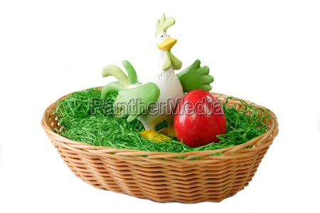 rooster in the basket
