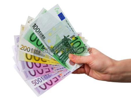 mano con le fatture di euro