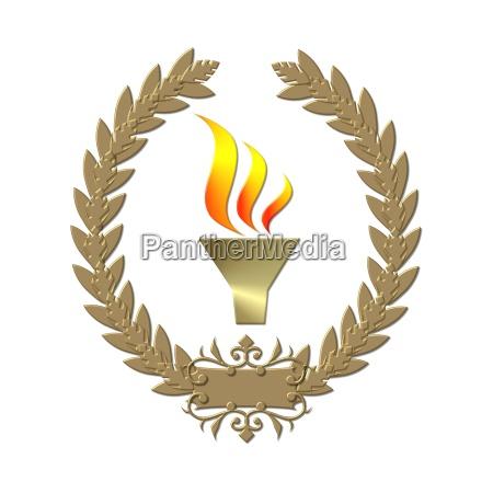 torch golden laurel wreath