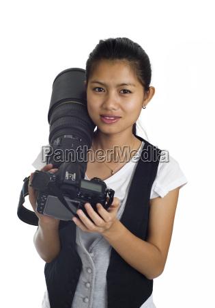 donna macchina fotografica bello carino grazioso