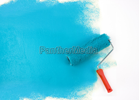 rullo di vernice blu