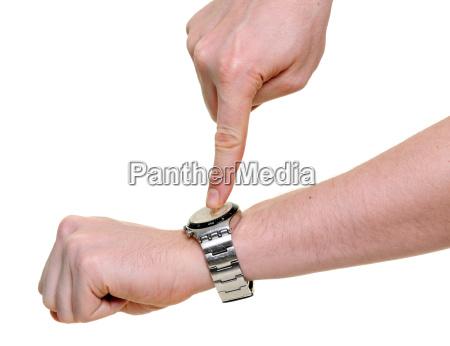mano dito orologio punto cima in