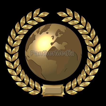 golden world with laurel wreath