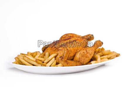 pollo fritto con patatine fritte