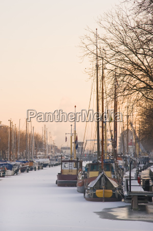 winter light over frozen harbour
