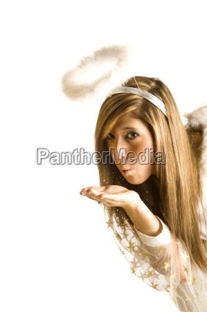 woman blow angel angels costume charismatic