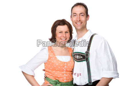 man and woman in bavarian tracht