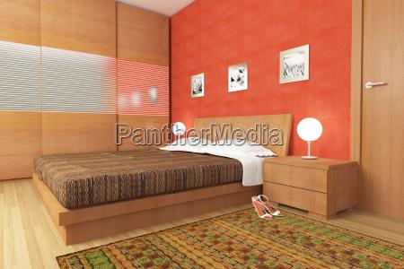 camera da letto di legno moderno