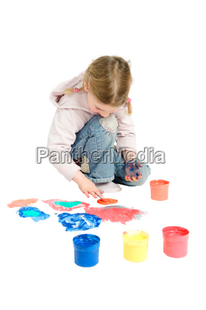 toddler with finger colors
