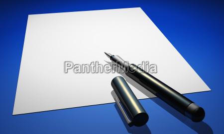 contratto con penna stilografica su blue