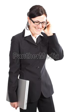 donna risata sorrisi amichevole occupato telefonante