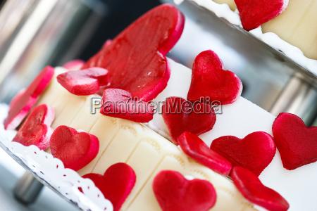 cuori torta torta nuziale rosso