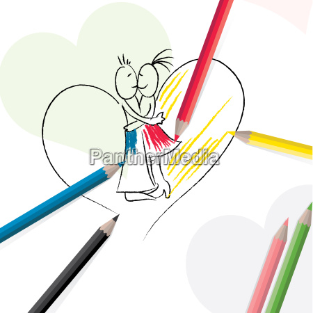 pencils with sketch of couple