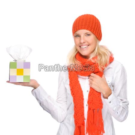 donna catarro raffreddore sciarpa fazzoletti di