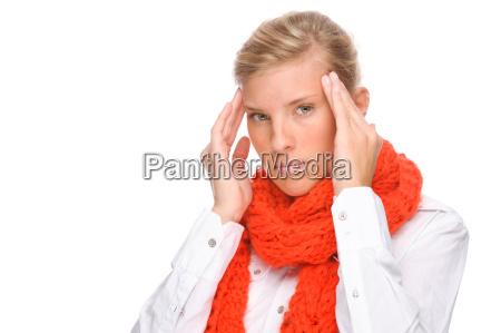 donna catarro raffreddore sciarpa mal di