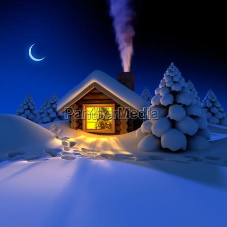 piccola casa nei boschi nella notte