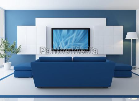 salotto blu e bianco