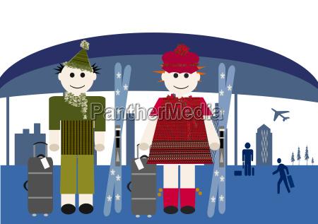 winter holidays skiing at airport