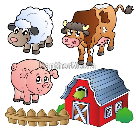raccolta di vari animali da fattoria