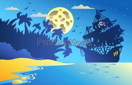 paesaggio marino di notte con nave