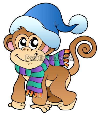 scimmia carina in abiti invernali