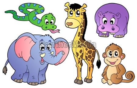set di simpatici animali africani