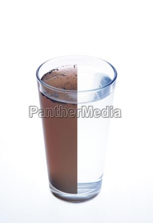 acqua pulita e sporca in un