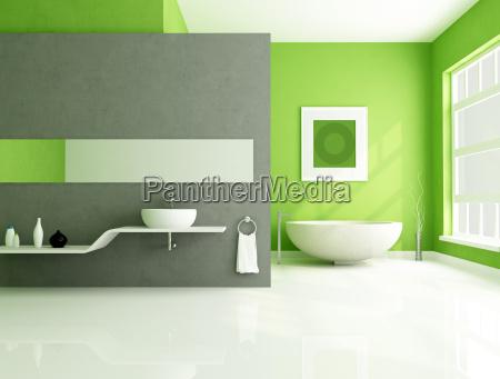 bagno contemporaneo verde e grigio