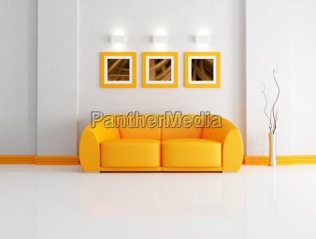arancione e salotto bianco