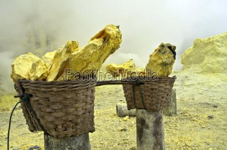 cesta llena de pepitas de azufre