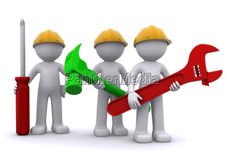 team di operaio edile con apparecchiature