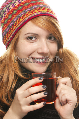 red haired young woman in winter