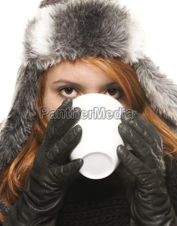 young red haired woman in winter